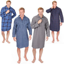 Mens Soft Cotton Flannel Check Or Stripe Pyjama Nightshirt PJ Lounge Top