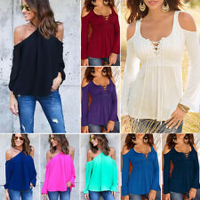 Womens Plus Size Cold Off Shoulder Loose Tops Blouse Casual Short Sleeve T-Shirt