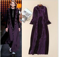 2017 Occident New Fashion Runway Sexy Velvet Splicing Lace Long Formal Dress Hot