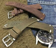 Vintage Italian Genuine Leather Watch Strap H/M 16 17 18 19 20 21mm Brown, Olive