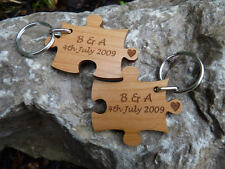 2 x Personalised Wood Jigsaw Keyrings: Anniversary, Love, Valentines Day, Couple