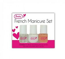 Pretty French Manicure Set in White Nude Nail Varnish Top Coat Guides & File UK
