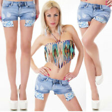 Womens Denim Hot Pants New Mini Blue Ripped Shorts Sexy Low Rise Size 8 10 12 14