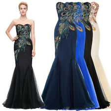 Long Peacock Mermaid Formal Dresses Wedding Bridesmaid Evening Prom Ball Gowns