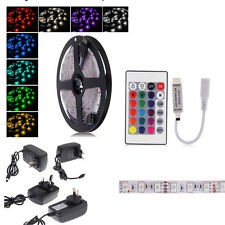 5 Meters RGB 5050 Color Changes LED Strip light + Controller Power Adapters