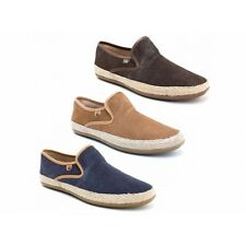 Base London SOUND Mens Suede Leather Slip On Espadrille Casual Loafers Shoes New