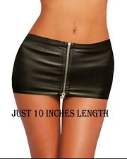 """HOT&SEXY LADIES JUST 10""""BLACK LEATHER LOOK FULL ZIP MICRO MINI SKIRT SIZE 4TO 20"""