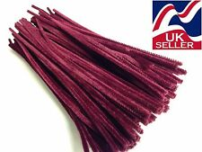 """10 - 100 x DARK RED chenille craft stems pipe cleaners 30cm (12"""") long, 6mm wide"""