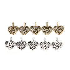50 Pcs Tibetan Silver Bronze Filigree Heart Charms Pendants DIY Jewelry Making@