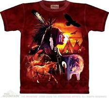 INDIAN COLLAGE ADULT T-SHIRT THE MOUNTAIN NATIVE AMERICAN