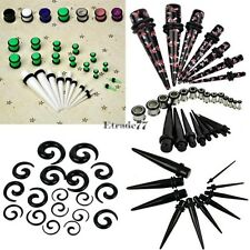 New 23 Pcs Ear Taper+ PLUG Kit 14G-00G 1.6mm-10mm Gauges Expander Set EA77