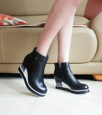 Women's Ladies Wedge High Heel Platform Zip Leather Black Ankle Boots Size 5-8.5