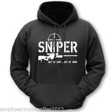 SNIPER OUT OF SIGHT OUT OF MIND HOODIE FUNNY SWEAT TOP M-2XL INFIDEL HOODY ARMY