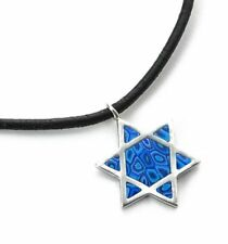 Star of David Pendant Necklace Chain Man Gift Blue Charm 925 Silver Jewellery