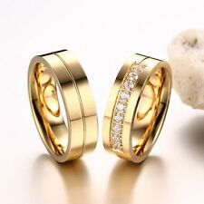 CZ Couples 18K Gold Plated Stainless Steel Wedding Band Ring Cubic Zirconia