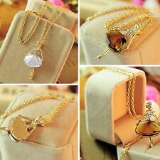 Women Sweater Gold Plated Pendant Necklace Long Chain Crystal Ballet Girl