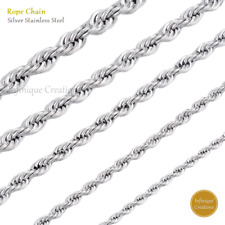 White Gold Stainless Steel Rope Chain Necklace 2mm to 6mm
