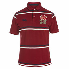 Canterbury Mens England 1871 Short Sleeve Stripe Pique Rugby Polo Shirt Red