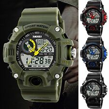 SKMEI Mens LCD Date Day S-SHOCK Military Dual Time Sport Army Quartz Wrist Watch