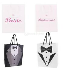Paper Pouch Groom Tuxedo Bride Gift Favour Bag w/ Handle Party Decorations