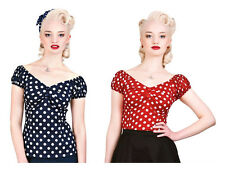 Collectif Dolores Polka Dot Red Navy Gypsy Top Rockabilly 1950's Vintage Pin Up