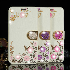Bling Floral Crystal Leather Wallet Case Cover For Samsung Galaxy Various phones