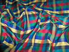 KRAVET LINDEN SILK CHECK FABRIC 1 YARD REMNANT PILLOWS CRAFTS QUILTERS