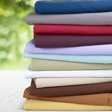 "600-Thread-Count 1PC Super Soft Fitted Sheet Solid 100% Cotton 20"" Deep Pocket"