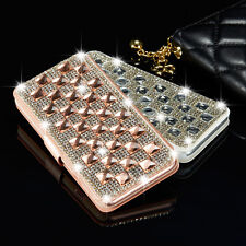 Luxury Crystal Bling Diamond Flip Leather Case Wallet Cover For Samsung Galaxy