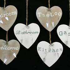 Gisela Graham Heart Wooden Home House Indoor Welcome Shabby Chic Sign Plaque New