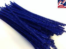 """10-100x BLUE GLITTER chenille craft stems pipe cleaners 30cm (12"""") long 6mm wide"""