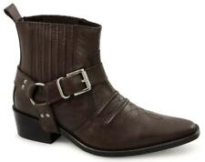 MENS ANKLE LENGTH LEATHER COWBOY BOOTS BROWN Sizes 6-11