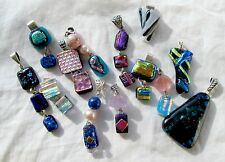 Dichroic Fused Art Glass PENDANTS Solid Sterling Silver Handmade USA Your Choice