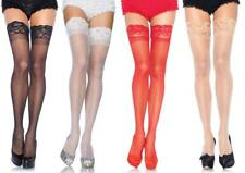 """Plus Size Sheer LACE TOP STOCKINGS THIGH stretches 30"""" AROUND TOP Queen SPANDEX"""