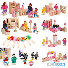 Wooden Furniture Dolls House Family Miniature 6 Room Kids Children Toys Suits