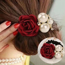 Satin Ribbon Rose Flower Pearls Ponytail Holder HairBand