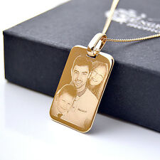 18 kt Gold Plated Dog Tag Pendant with Necklace, Photo & Text Engraved