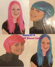 New Wig Fun Colourful Rose Pink Blue Short Long Fancy Dress Party Wig
