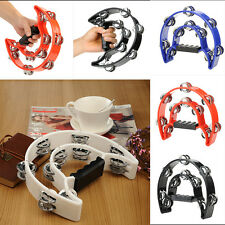 New Hand Held Tambourine Double Row Metal Jingles Percussion Red Hot