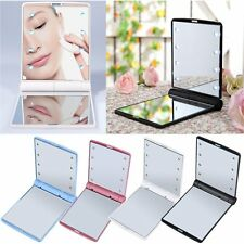 LED Make Up Mirror Cosmetic Mirror Folding Portable Compact Pocket Gift FE