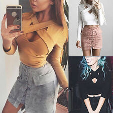 WOMENS SEXY CROSS DEEP V NECK LONG SLEEVE CROP TOP CLUBWEAR PARTY T-SHIRT SUPERB