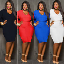 Women Sexy Bodycon Plus Size Batwing Mini Party Evening Cocktail Formal Dress