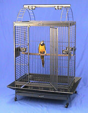 """4 Color, 32""""x22""""x62""""H PlayTop Wrought Iron Parrot Cage With Extra Strong Wire"""