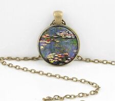 Claude Monet Impressionism Waterlilies Art Pendant Necklace or Key Ring