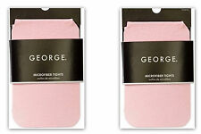 2 TWO PAIR! George Girls' Microfiber Tights PINK SIZE 7-10