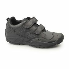 GEOX JR NEW SAVAGE Boys Dual Touch Fasten WP Breathable School Trainers Black