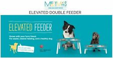 Messy Mutts Elevated Double Dog Feeder w/ Removable Stainless Steel Dog Bowls