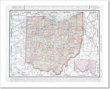 Antique Color Map Of Ohio, Oh, United States Usa
