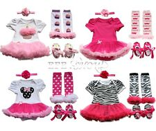 4Pc Baby Girls Tutu Skirt Romper With Headband Leg Warmer Shoes Birthday Gift