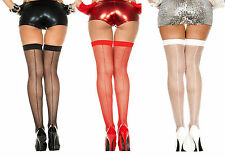 Plus Size FISHNET Thigh High BACKSEAM Stockings OVER-THE-KNEE School Girl QN